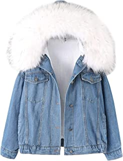 Gihuo Women's Sherpa Fleece Lined Denim Jacket with Furry Fur Trim Hood