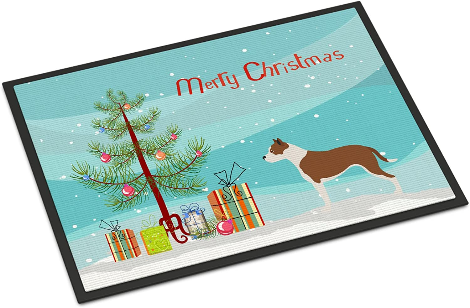Caroline's Treasures Pit Bull Terrier Christmas Doormat, 24hx36w, Multicolor
