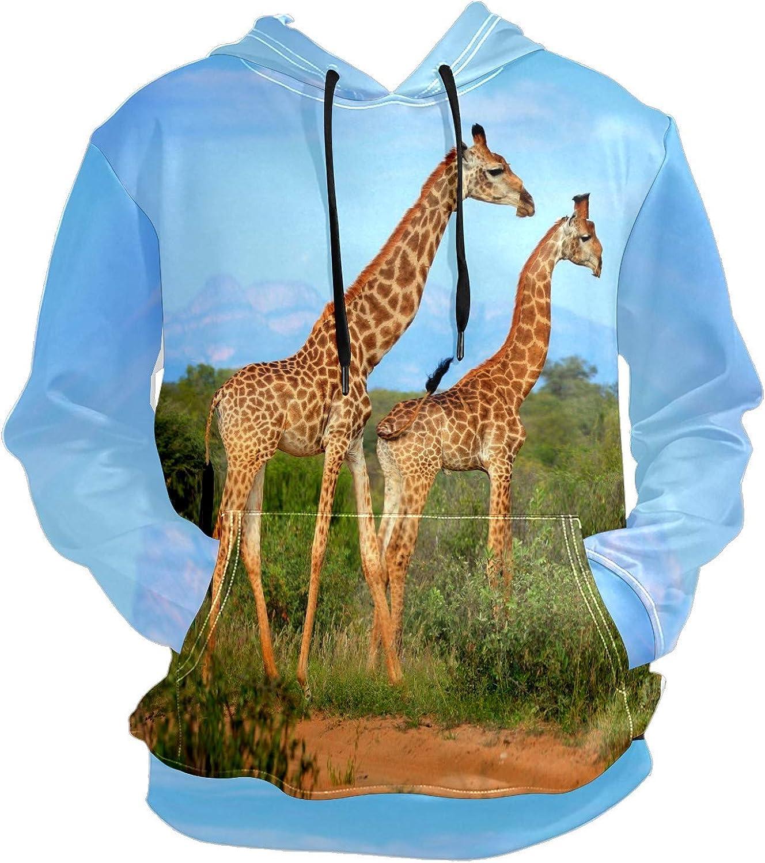 Men's Sport Hoodie Giraffes Walking In The Grassland Big and Tall Hoodies for Men Women Oversized Hooded Sweatshirt Hip Hop Pullover Hoodie Midweight Hood for Boys Girls
