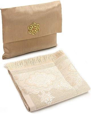 Muslim Prayer Rug and Beads with Elegant Slub Fabric Bag   Janamaz   Sajadah   Soft Islamic Prayer Rug   Islamic Gifts   Prayer Carpet Mat, Taffeta Fabric, Gold