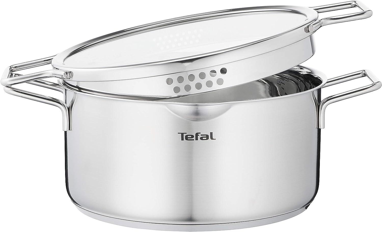 Tefal Nordica Cacerola 24 cm acero inoxidable, capacidad de 5 L, tecnología full induction, diseño minimalista, tapa de cristal, apta para gas, vitrocerámica, eléctricas e inducción, apto para horno