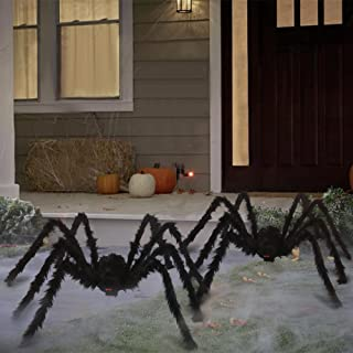 HOOJO 2pcs 5FT Giant Spider with Red Eyes, Large Spiders Halloween Decorations, Fake Hairy Spiders Set for Halloween Indoo...