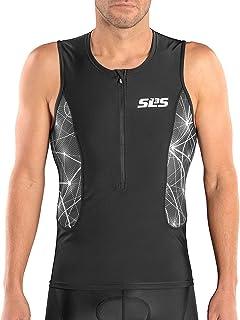SLS3 Tri Top Men - Triathlon Shirt Men - Men`s Tri Tops - FRT 2 Pocket Jersey Singlet Tank Ideal from Sprint to 1/2 Ironman