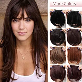Fashion Clip In Bangs Extensions Front Full Neat Bangs Fringe 2 Clips One Piece Thick Straight Hairpiece Accessories Synthetic Hairpiece For Women (8 inches,medium brown)