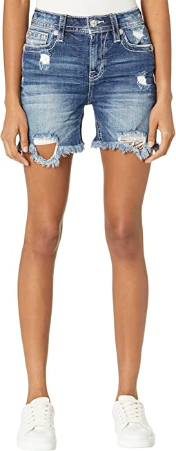 Heaven Wing M Logo Embroidered High-Rise Mid-Shorts in Medium Blue