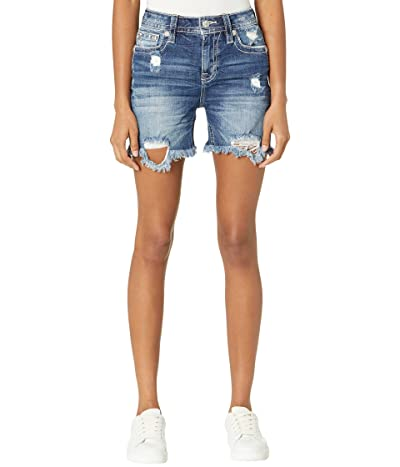 Miss Me Heaven Wing M Logo Embroidered High-Rise Mid-Shorts in Medium Blue