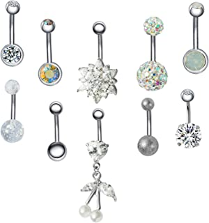 JDXN 10PCS 14G Stainless Steel Belly Button Rings CZ Flower Leaf Dangling Dangle Navel Ring Body Piercing