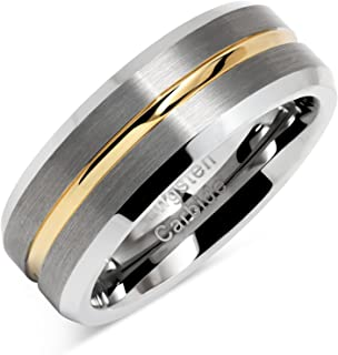 100S JEWELRY Tungsten Rings for Men Two Tone Silver Wedding Bands Gold Grooved Matte Finish Size 6-16