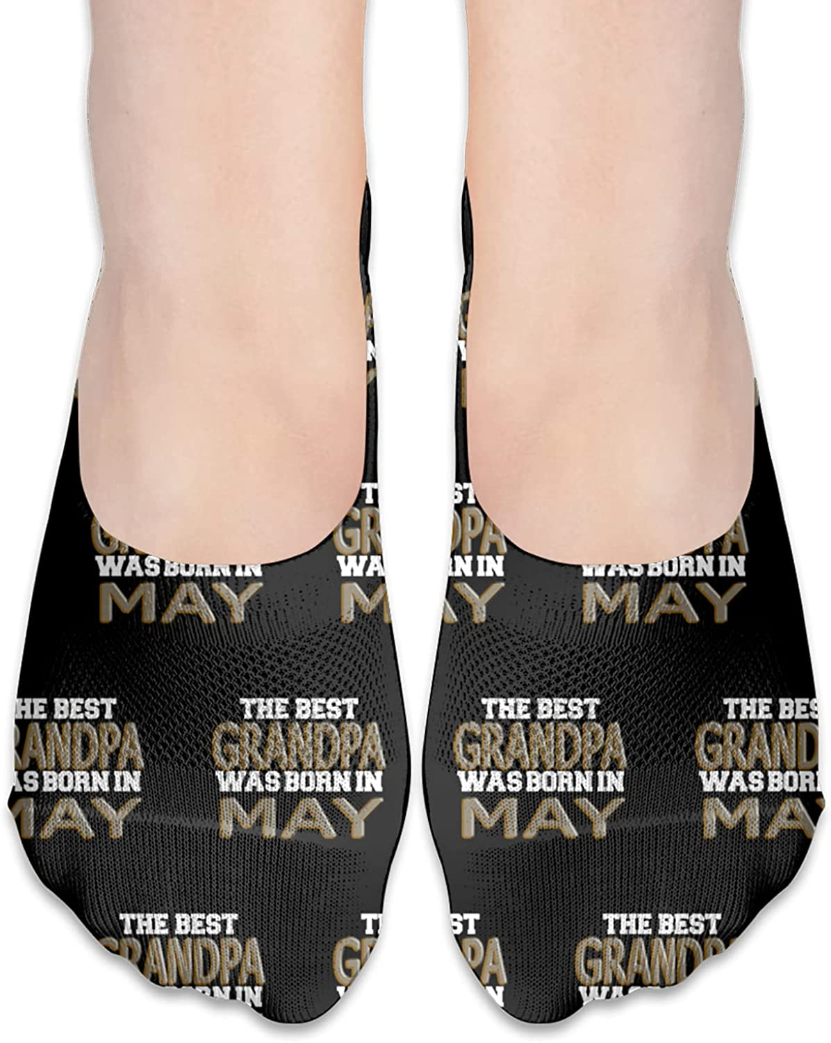 The Best Grandpa Was Born In May Funny Father Day Gift No Show Socks Adult Short Socks Athletic Casual Crew Socks