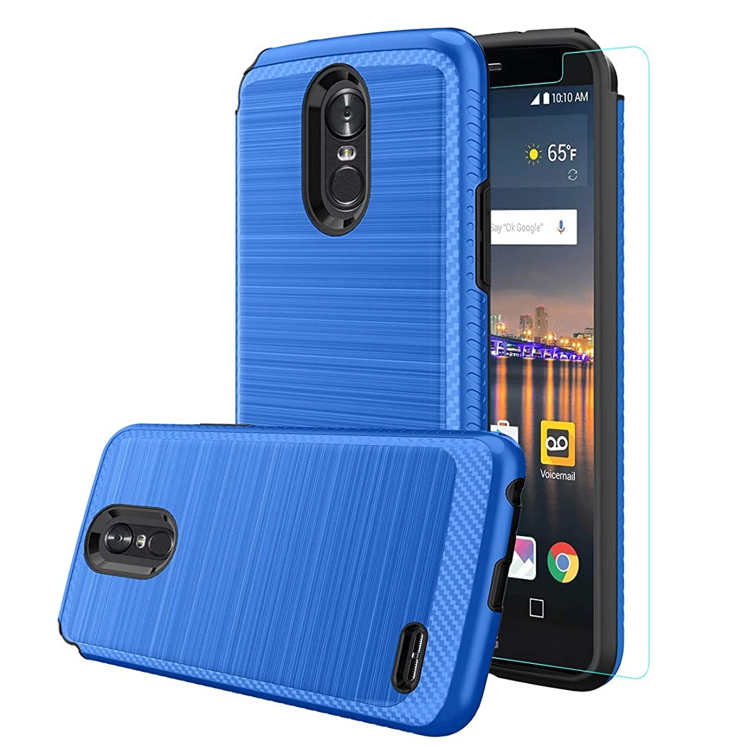 LG Stylo 3 Case,LG Stylo 3 Plus,LG Stylus 3,LG LS777 Case with [HD Screen Protector],Dual Layer Hybrid Shockproof Metallic Brush Texture Hard Cover for LG Stylo 3, Blue