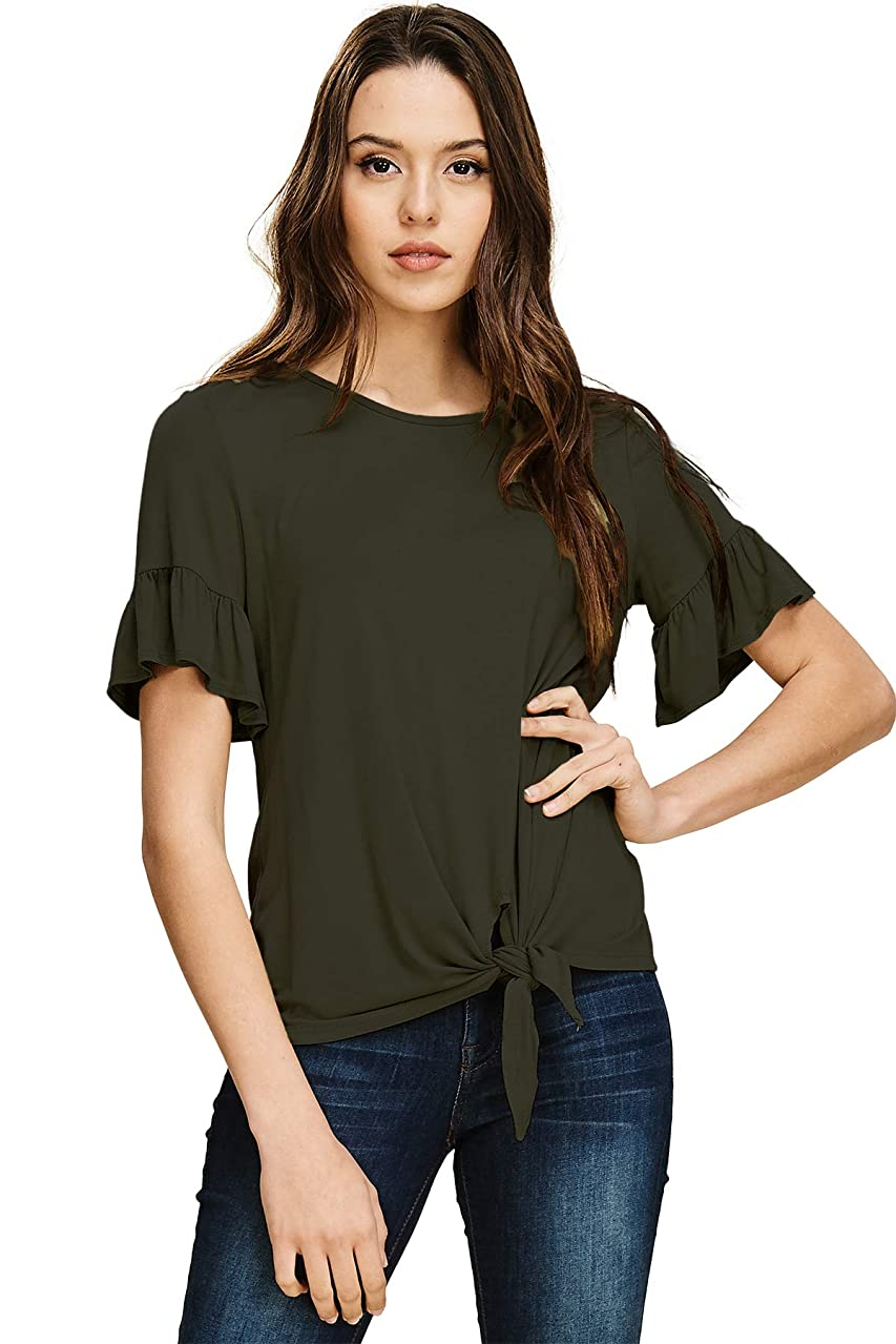 Annabelle Women's Casual Short Sleeve Knot Tie Front Loose Fit Top Tee T-Shirt Blouses