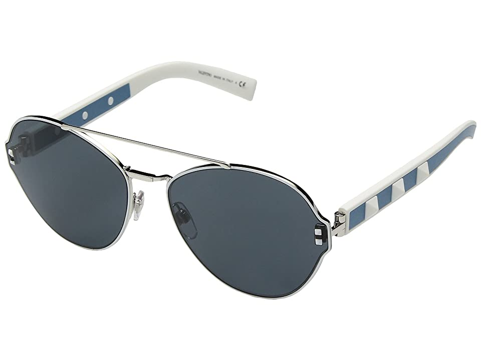 Valentino 0VA2025 (Silver/Black/Leather Azure/Smoke Blue) Fashion Sunglasses