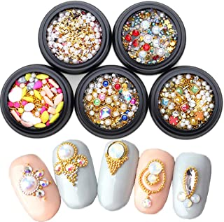 Nail Studs for Women Gold Nail Studs Gems Sparkle Rhinestones 5 Wheels Nail Jewels Metal Rivets Charms Hollow Moon Star Shaped Artificial Pearls DIY 3D Nail Art Decoration