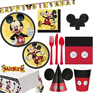 amscan Party Centre Disney Mickey Mouse Forever Tableware Party Supplies For 8 Guests, Includes Plates, Birthday Candle, P...