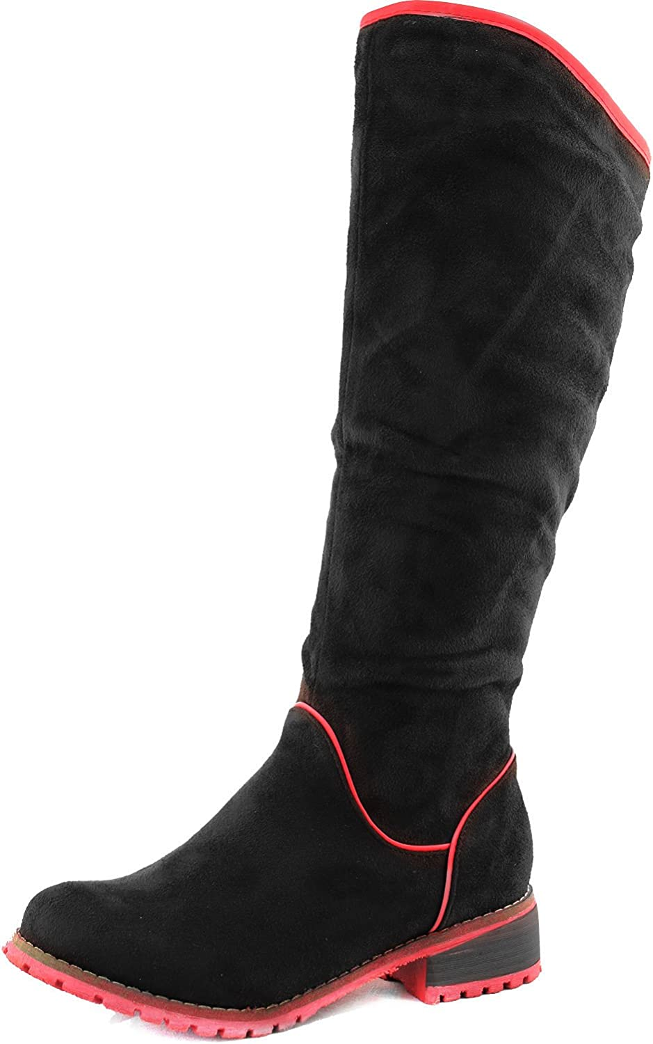 Top Moda Women's Knee High Cowboy Riding Boots Mid Calf Slouch color Lining Rubber Out-Sole Fashion shoes