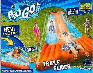 Go Triple Slider Kids Outdoor 3-Person Water Slide with Splash Lagoon for Big-Splash-Take-Off, Orange
