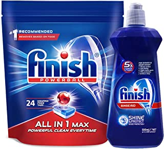 Finish 亮碟 洗碗机专用多效合一洗涤块 396g+专用漂洗剂500ml (亚马逊自营商品, 由供应商配送)