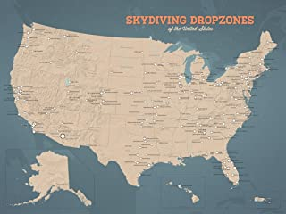 Best Maps Ever US Skydiving Dropzones Map 18x24 Poster (Tan & Slate Blue)