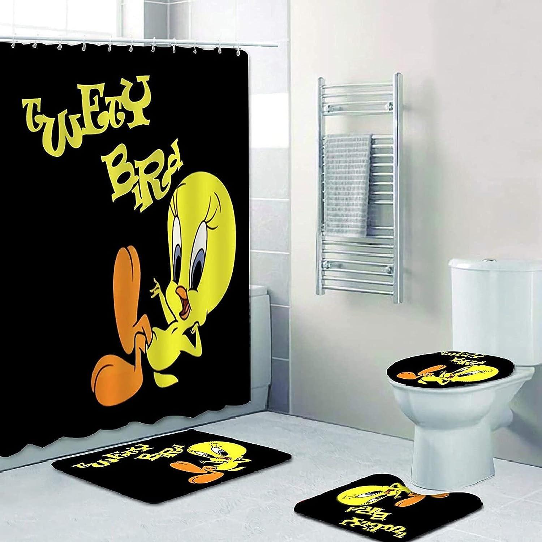 KANBGMTR 4 Pcs Twe-ety sale Bi-rd Shower with Curtain shop Ru Set Non-Slip