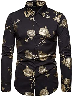 GDJGTA Shirts for Mens Baggy Blazer Print Turn-Down Collar Button Long Sleeve Shirts Blouse