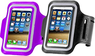 2pack Water Resistant Running Sports Armband Phone Case Reflective with Key Holder for Workout for iPhone X XR XS MAX 8 7 Plus, 6 Plus, 6S Plus (5.5-Inch), Galaxy S8,S9 S6/S5(Purple+Black)