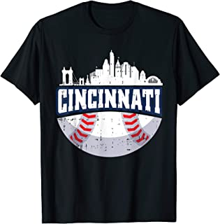 Cincinnati Baseball Skyline Ohio Baseball Player Gift T-Shirt