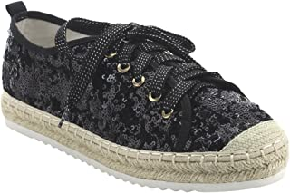 Bonnibel FJ64 Women's Sparking Glitter Espadrilles Lace Up Sneakers
