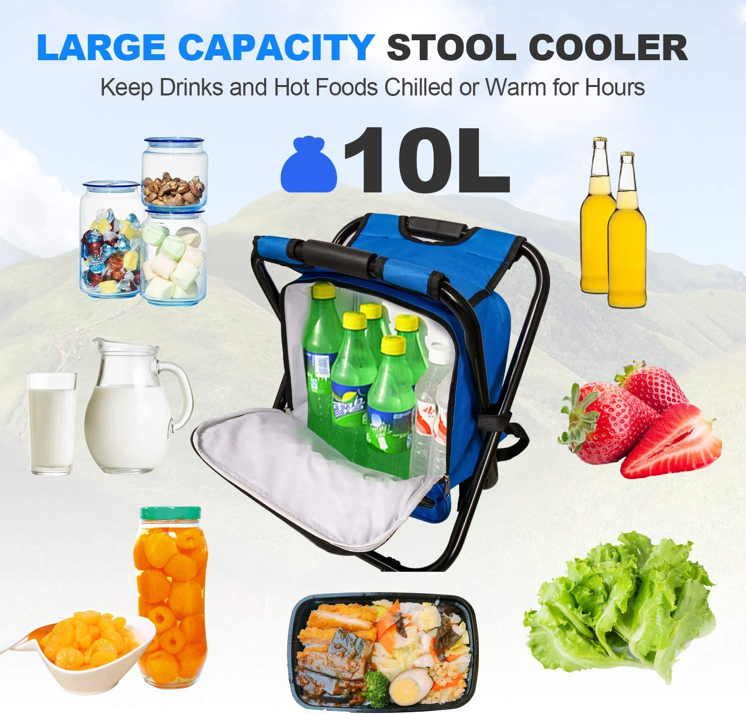 Lightweight Folding Stool Fishing Portable Backpack Cooler Chair Picnic,400 LBS Capacity Hiking Foldable Backpack Stool Outdoor Gear for Camping Beach Travel Blue