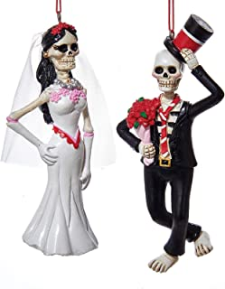 Kurt Adler 1 Set 2 Assorted Day of The Dead Bride And Groom Christmas Ornaments