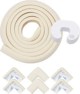 Store2508® Child Safety Strip Cushion 2 metres (6.6 Feet) & 6 Pre Taped Corner Guards Cushion with Genuine 3M 9448A Tape for Baby Safety Child Proofing. (Ivory)