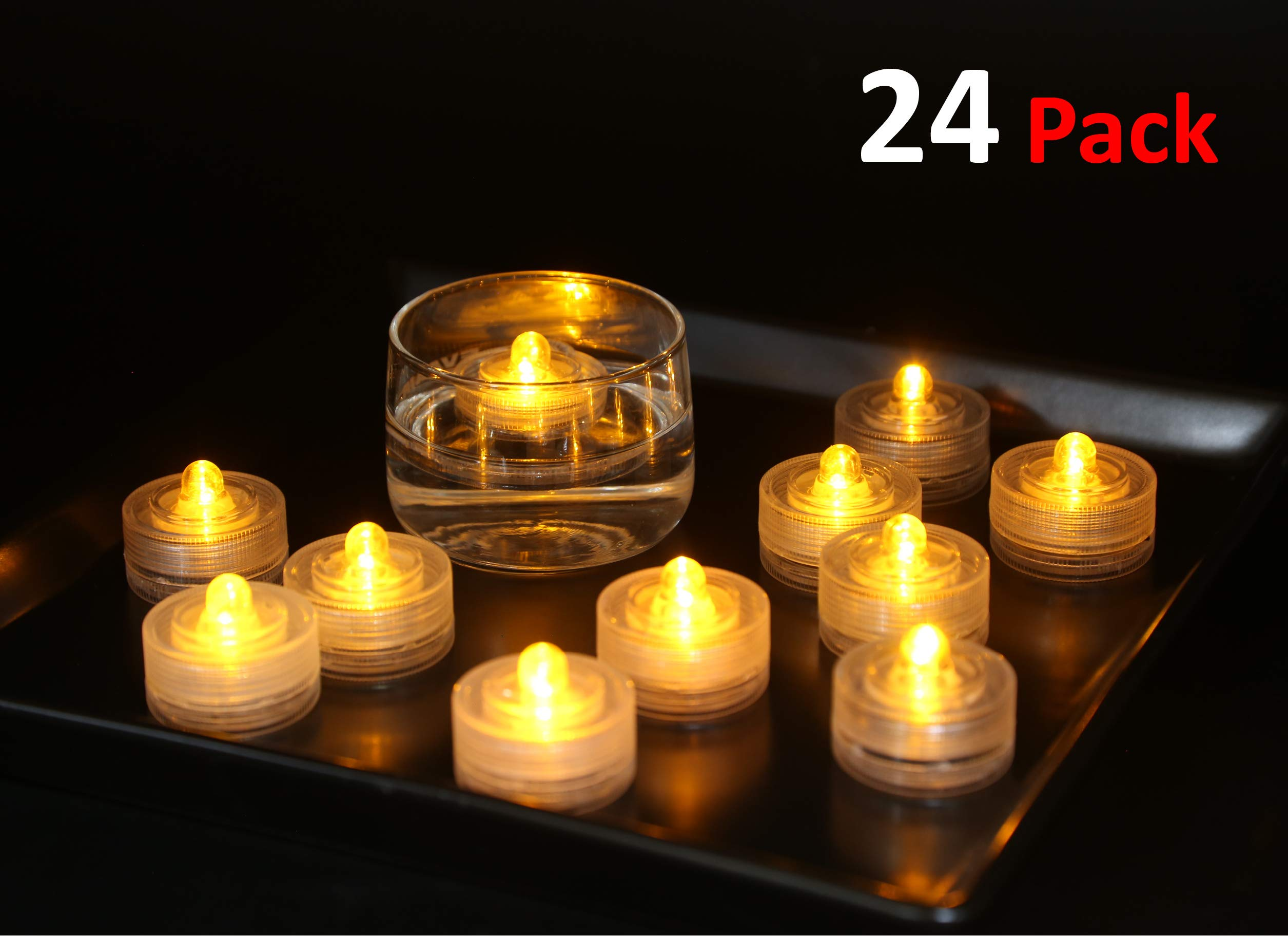 Furora Lighting Flameless Floating Candles Flickering Warm Yellow Led Waterproof Tea Lights Floating Pool Lights Wedding Pool Decorations Candle Floating Candles For Centerpieces Pack Of 24 Buy Online In Bahamas At
