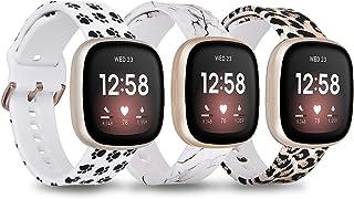 أساور QINGQING زهرية متوافقة مع Fitbit Versa 3 / Fitbit Sense, Soft Fadeless Pattern Printed Silicone Band استبدال أساور ا...