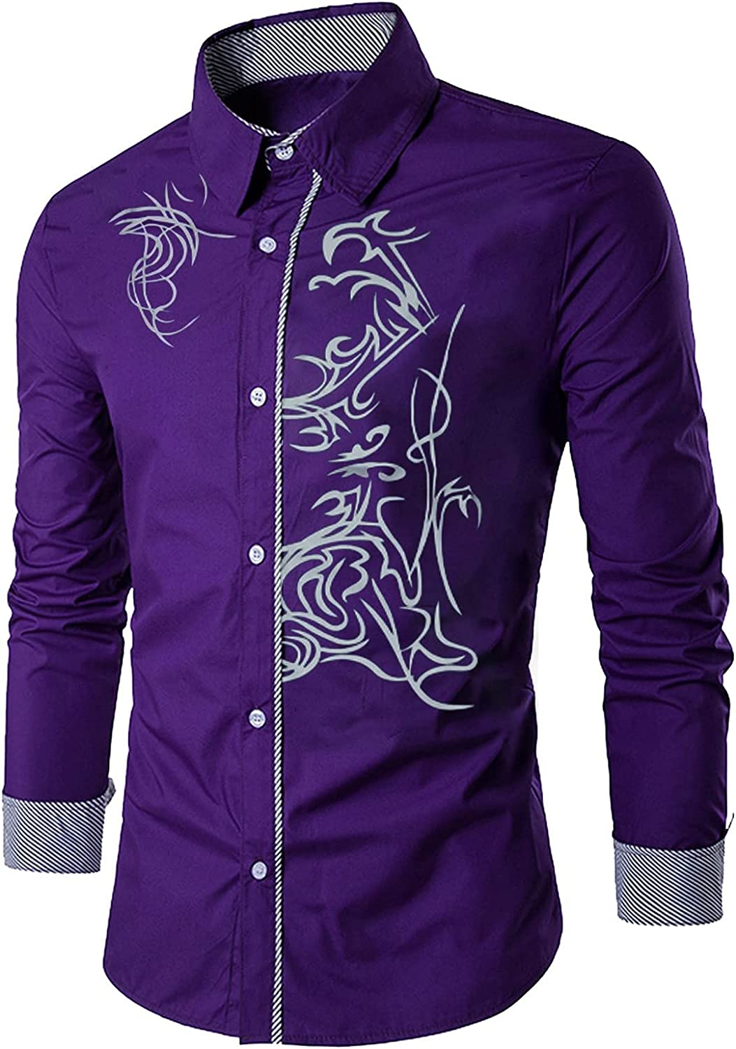 WUAI Mens Floral Printed Long Sleeve Button Down Dress Shirts Casual Slim Fit Plaid Collar Wedding Party Work Shirt Tops