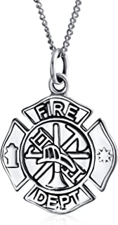 Personalized Medal Firefighter Fire Dept Shield Medallion Pendant Necklace For Women Firemens Wife 925 Sterling Silver