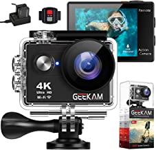 GeeKam Action Camera 4K WiFi Ultra HD Underwater 30M Waterproof 170° Wide Angle Lens Sports Camcorder with Remote Control 2 Rechargeable Batteries and Mounting Accessories Kit