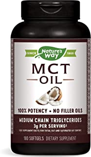 Nature's Way MCT Oil Softgels, 3 g of MCTs per serving, No Palm or Filler Oils, 180 Softgels