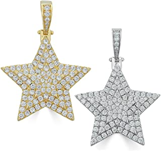 Harlembling Solid 925 Sterling Silver Iced Out Star Piece Pendant - Men's - Great for Any Chain! ICY CZ Super Star