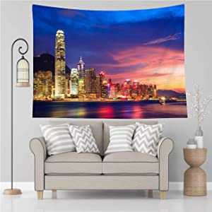 Vikes City Skyline Tapestry,Hong Kong Skyline at Night China,Tapestry Wall Hanging Art for Living Room Bedroom Home Decor,90x70 in