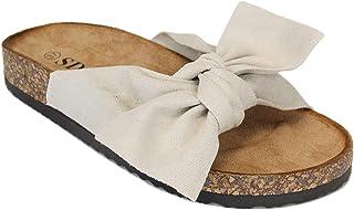 Damen Pantoletten Sommer Sandalen mit Schleife Unifarben 7019 PL