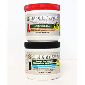 PC Products PC-Masonry Epoxy Adhesive Paste, Two-Part Repair, 32 oz in Two Jars, Gray 73209