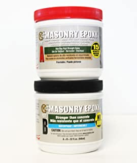 PC Products PC-Masonry Epoxy Adhesive Paste, Two-Part Repair, 32oz in Two Jars, Gray 73209