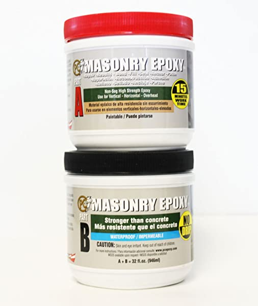 PC Products PC Masonry Epoxy Adhesive Paste Two Part Repair 32oz In Two Jars Gray 73209