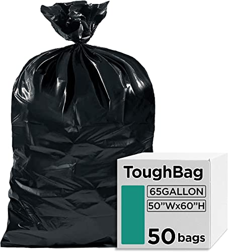 """2021 ToughBag 65 Gallon Industrial Trash Bags, 50 x 60"""" Large Black Garbage online Bags, Toter Liner (50 COUNT) – Outdoor Garbage Can Liner for sale Custodians, Landscapers, Contractors - Made In USA outlet sale"""