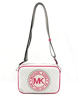 MICHAEL MICHAEL KORS FULTON SPORT LARGE EAST WEST SIGNATURE CROSSBODY BAG WHITE NEON PINK
