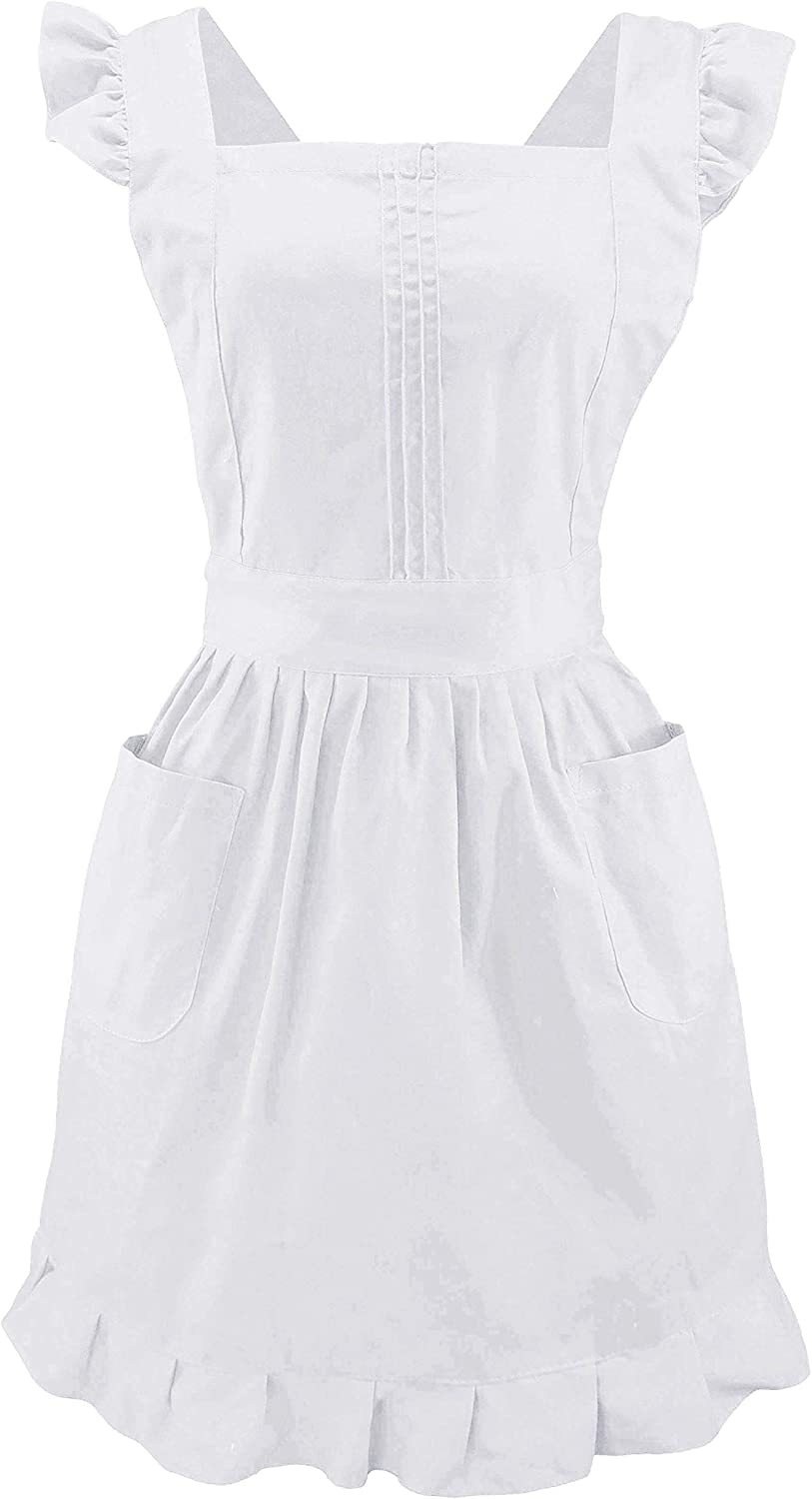 LilMents Retro Adjustable Ruffle Apron with Pockets, Small to Plus Size Ladies (White): Home & Kitchen