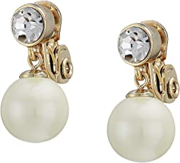 White Pearl Clip Drop Earrings