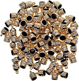 Prettyia 100Pcs Necklace Cord Crimp End Caps Tassel Caps Beads Crimps End for Leather Cord Craft Jewelry Making
