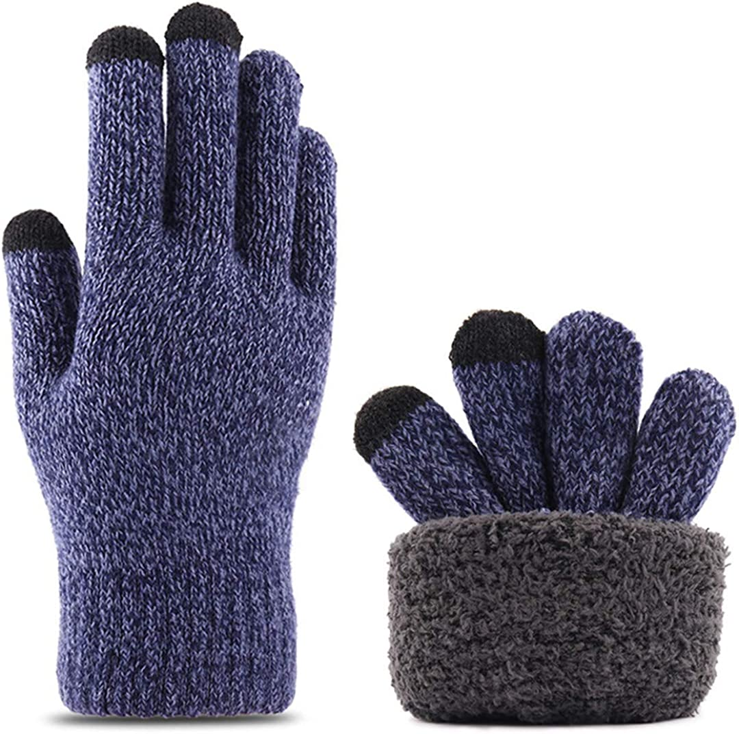 Touch Screen Knitted Gloves Men Women Thicken Wool Mitten Outdoors Anti-Slip Warmer Couple Gloves Double Layer navy