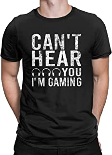 CHAMPRINT Can't Hear You I'm Gaming Funny T-Shirt Player Video Gamer Gift Tops Tees for Men