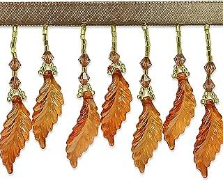 Acrylic Leaf Beaded Fringe Trim Amber